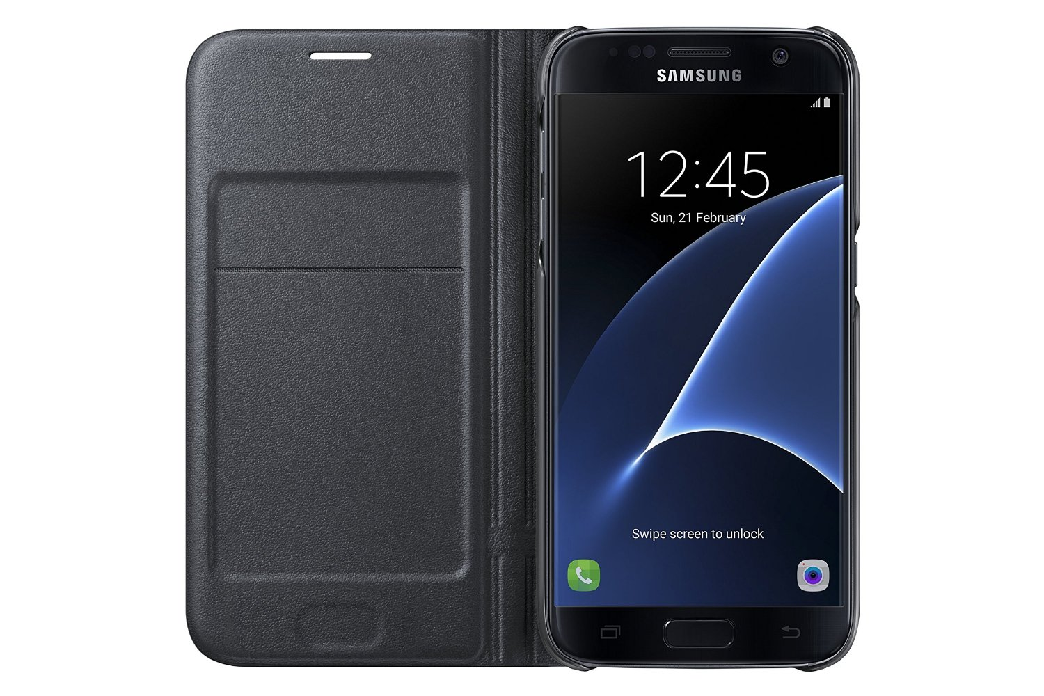 Samsung Galaxy S7 Case LED View Flip Cover - Black